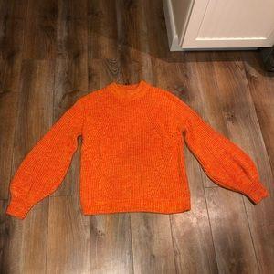 Orange balloon sleeve sweater size large